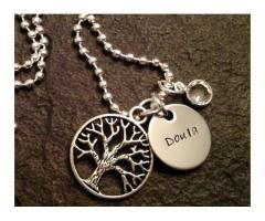 Hand stamped personalized necklace with tree of life charm and Swarovski crystal doula