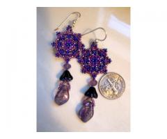 Handmade Artisan Beadwork Earrings - Beadweaving