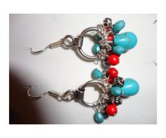 turquoise blue and red silver beaded dangle earrings, southwest earrings, southwest beaded jewelry