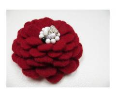 Cashmere Wool Flower Brooch Pin in Red White Black with Vintage Earring Center