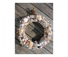 Coastal Beachy Wreath -Jumbo Seashell & Driftwood Decor Colored Glass Decor