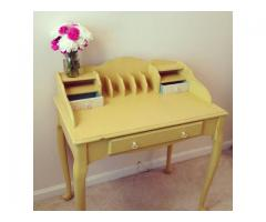 Yellow Writing Desk- chalk painted, shabby chic furniture, secretary desk, painted desk