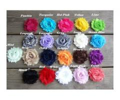 12 Shabby Chiffon Frayed Flower set
