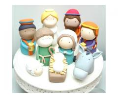 Christmas Nativity Scene Set of 9 Figurines Cake Toppers