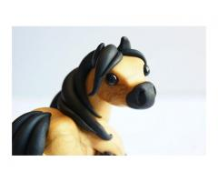 Horse Sculpture Cute Miniature Polymer Clay Pony Figurine Buckskin Feathered Feet MADE TO ORDER
